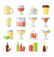 drinks flat icons set vector image vector image