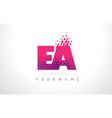 ea e a letter logo with pink purple color and vector image vector image