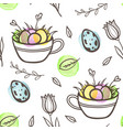 easter seamless pattern with eggs and florals vector image vector image