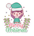 elf with stars and branches leaves decoration vector image