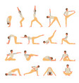 female character engaged fitness yoga set girl vector image vector image