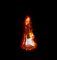 Fire burning guitar black background vector image vector image