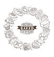 fresh bread circle poster vector image vector image