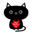 happy valentines day cute black cat icon holding vector image vector image