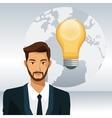 man beard business world bulb idea vector image