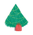 merry christmas decorative tree bright lights gift vector image