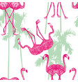 mirror flamingo on palm background vector image vector image
