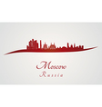Moscow skyline in red vector image vector image