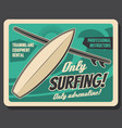 ocean surfing club surf board ans wave vector image