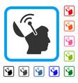 open brain radio interface framed icon vector image vector image