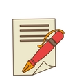pen with contract icon vector image vector image