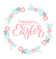 pink happy easter hand drawn calligraphy and wrath vector image