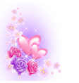 Pink hearts with roses vector image vector image