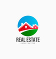 real estate houses circle logo vector image vector image