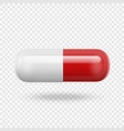 realistic 3d white and red medical pill vector image vector image