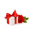 realistic white gift box with red bow ribbon vector image