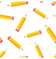 realistic yellow wooden pencil with rubber eraser vector image