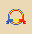 ribbon and circle with flag of romania vector image vector image