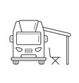 rv camping motorhome line icon vector image vector image