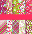 set 10 seamless bright fun abstract patterns vector image vector image