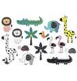 set isolated jungle animals vector image