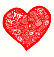 set with hand drawn japan symbols and seafood vector image vector image