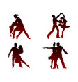 silhouettes of four dancing couples vector image vector image