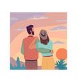 sky landscape sunset dating couple hugs together vector image vector image