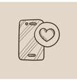 Smartphone with heart sign sketch icon vector image vector image