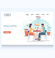 speed dating website landing page design vector image vector image