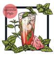 square framed card with watermelon mojito vector image