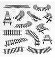 straight and curved rails icon set vector image
