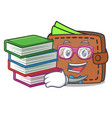 student with book wallet mascot cartoon style vector image
