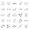 urban animals set outline style vector image vector image