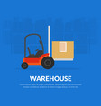 warehouse banner template with forklift truck vector image vector image