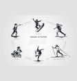 winter activities - snowball snowboard skating vector image vector image