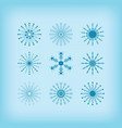 winter detail line circle snowflakes icons set vector image