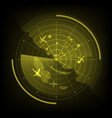 yellow radar screen with airplane and map vector image