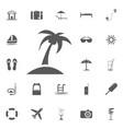 palms icon flat summer set vector image