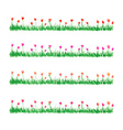 watercolor grass with flowers vector image