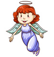 A simple coloured drawing of an angel vector image