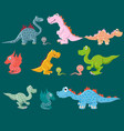 a variety of dinosaurs carnivores and herbivores vector image vector image