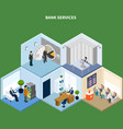 bank services isometric background vector image vector image