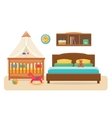 Bedroom with parents bed and baby cot vector image