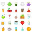 boozing icons set cartoon style vector image