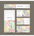 Business cards collection with watercolor waves vector image