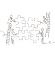 business team doing a puzzle - one line design vector image vector image