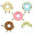 cartoon cute colorful donut set with happy face vector image
