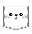 cat sad head face silhouette icon pocket print vector image vector image