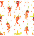 cute funny peppers characters seamless pattern vector image